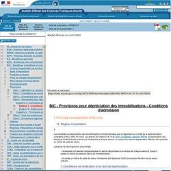 Provisions pour dépréciation des immobilisations - Conditions d'admission
