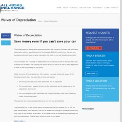 Waiver of Depreciation - All-Risks Insurance Brokers Limited