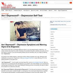 Am I Depressed? - Depression Self Test
