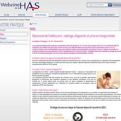 Dépression de l'adolescent : repérage, diagnostic et prise en charge initiale