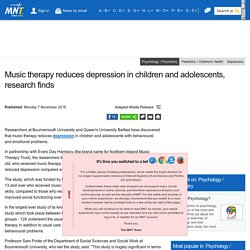 Music therapy reduces depression in children and adolescents, research finds