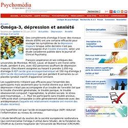 Oméga-3, dépression et anxiété