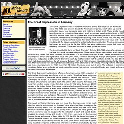 The Great Depression in Germany - Weimar Germany