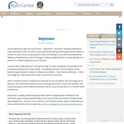 Depression Symptoms, Information and Treatment - Psych Central