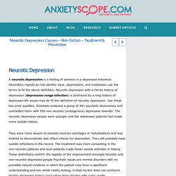 Neurotic Depression: Causes - Risk-factors - Treatment & Prevention