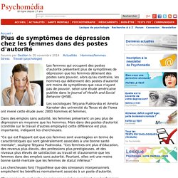Plus de symptômes de dépression chez les femmes dans des postes d'autorité