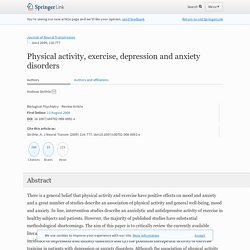 Physical activity, exercise, depression and anxiety disorders