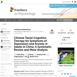Chinese Taoist Cognitive Therapy for Symptoms of Depression and Anxiety in Adults in China: A Systematic Review and Meta-Analysis