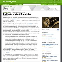 On Depth of Word Knowledge : Under the Hood