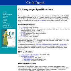 C# in Depth: C# Language Specifications