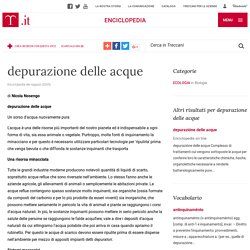"""Depurazione Delle Acque in """"Enciclopedia dei ragazzi"""
