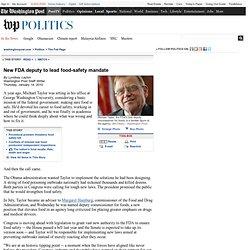 WaPo: George Washington University New FDA deputy to lead food-safety mandate