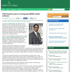 FDA finalizes plans to deregulate MDDS health software