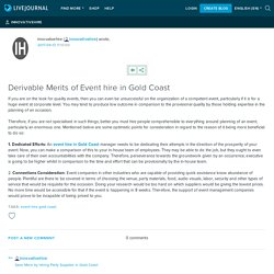 Derivable Merits of Event hire in Gold Coast: innovativehire
