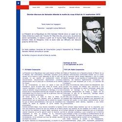 Dernier discours de Salvador Allende avant le coup d'état