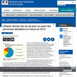 L'Ehpad, dernier lieu de vie pour un quart des personnes décédées en France en 2015