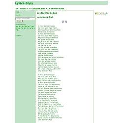 Le Dernier Repas - Jacques Brel - Paroles de la chanson