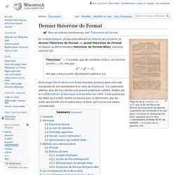 Dernier théorème de Fermat