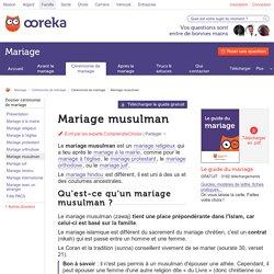 Mariage musulman : déroulement - ComprendreChoisir
