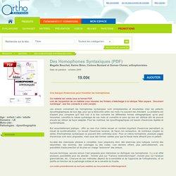 Des Homophones Syntaxiques (PDF)