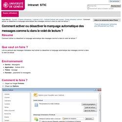 Comment activer ou désactiver le marquage automatique des messages comme lu dans le volet de lecture ? — Intranet STIC