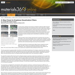 A Step Closer to Graphene Desalination Filters - Materials360 Online