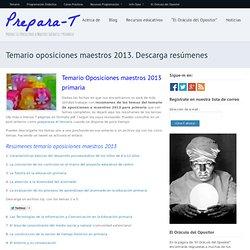 Descarga temario oposiciones maestros 2013 infantil y primaria