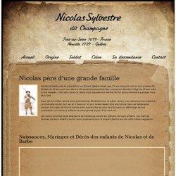 Exemple : Descendance de Nicolas Sylvestre dit Champagne