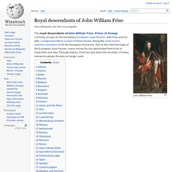 Royal descendants of John William Friso