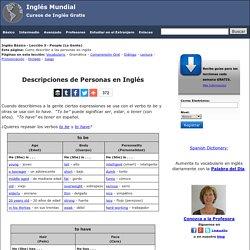 Descripciones de Personas en Inglés