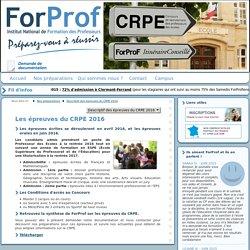 Descriptif des Epreuves du CRPE 2016
