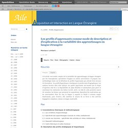 Les profils d'apprenants comme mode de description et d'explication à la variabilité des apprentissages en langue étrangère