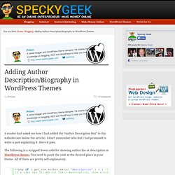 Adding Author Description/Biography in WordPress Themes