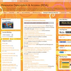 Resource Description & Access (RDA): Cataloger's Reference Directory