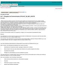 Description de l'emploi - ALT - Chargé(e) de Communication (F/H) (ALT_IB_IBC_2016/70)