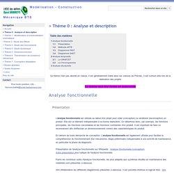 > Thème 0 : Analyse et description - Construction Méca BTS