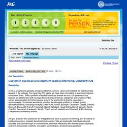 P&G Job Description - Customer Business Development (Sales) Internship