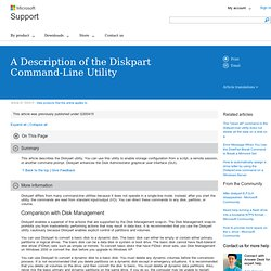 A Description of the Diskpart Command-Line Utility