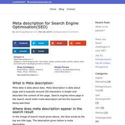 Meta Description for Search Engine Optimisation(SEO)