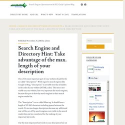 Search Engine and Directory Hint: Take advantage of the max. length of your description – Search Engine Optimization & SEO Daily Updates Blog