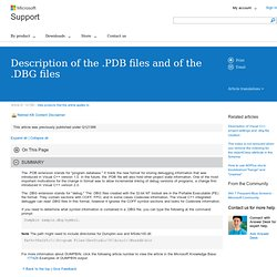 Description of the .PDB files and of the .DBG files