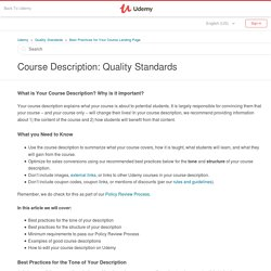 Course Description: Quality Standards – Udemy