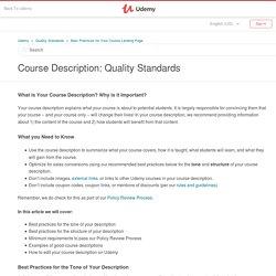 Course Description: Quality Standards – Udemy