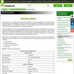 Job Description - Free Sample format Templates of JD - HRMS