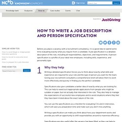 How to write a job description and person specification