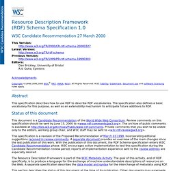 Resource Description Framework (RDF) Schema Specification 1.0