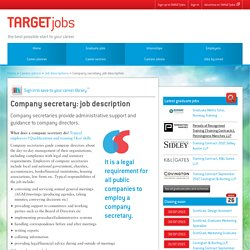 Company secretary: job description