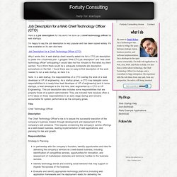 Job Description for a Web Chief Technology Officer (CTO)