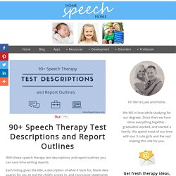 90+ Speech Therapy Test Descriptions At Your Fingertips