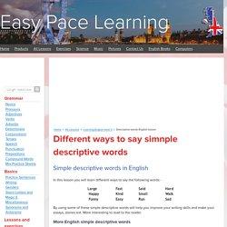 Descriptive words English lesson